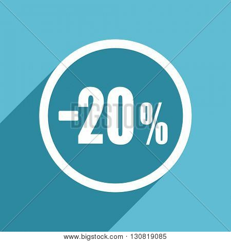 20 percent sale retail icon, flat design blue icon, web and mobile app design illustration