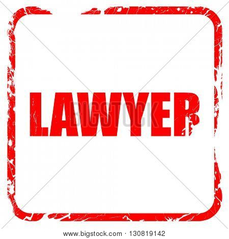 lawyer, red rubber stamp with grunge edges