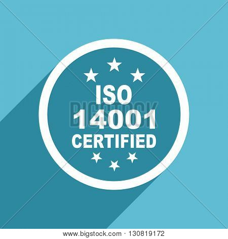 iso 14001 icon, flat design blue icon, web and mobile app design illustration