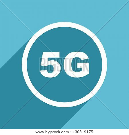 5g icon, flat design blue icon, web and mobile app design illustration