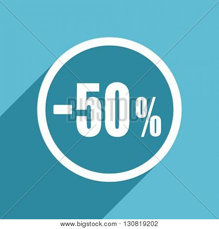 50 percent sale retail icon, flat design blue icon, web and mobile app design illustration