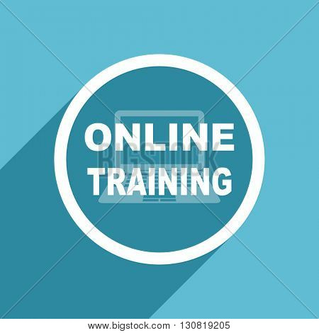 online training icon, flat design blue icon, web and mobile app design illustration