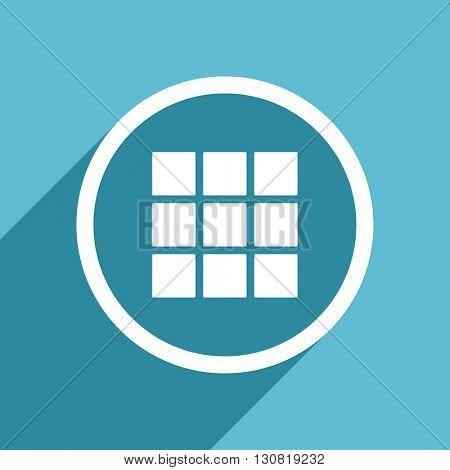 thumbnails grid icon, flat design blue icon, web and mobile app design illustration