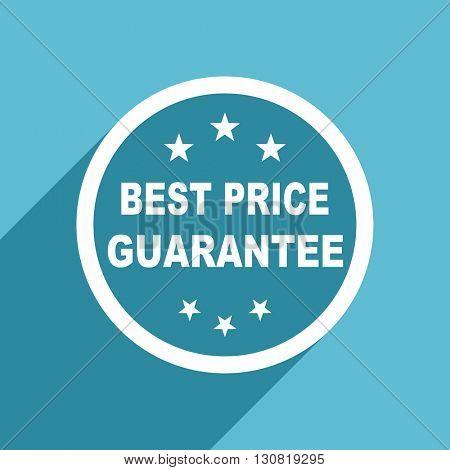 best price guarantee icon, flat design blue icon, web and mobile app design illustration