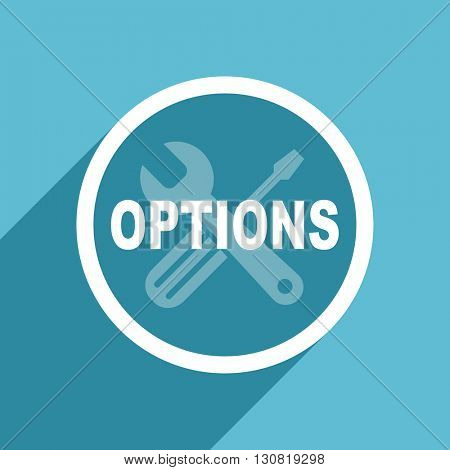 options icon, flat design blue icon, web and mobile app design illustration