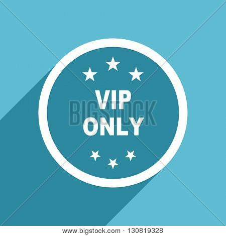 vip only icon, flat design blue icon, web and mobile app design illustration