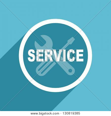 service icon, flat design blue icon, web and mobile app design illustration