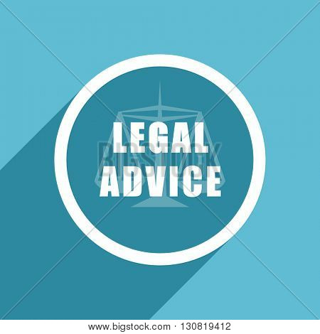 legal advice icon, flat design blue icon, web and mobile app design illustration