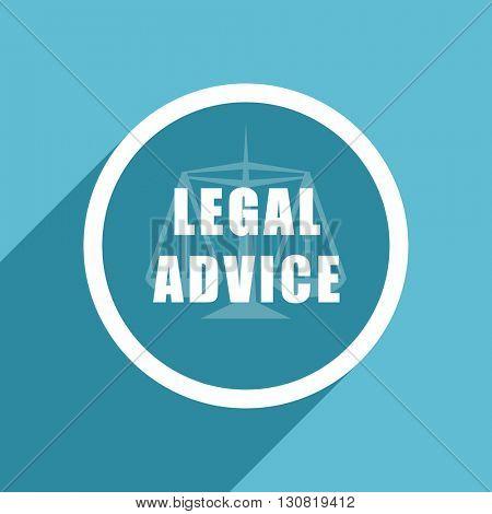 legal advice icon, flat design blue icon, web and mobile app design illustration