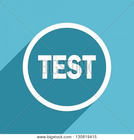 test icon, flat design blue icon, web and mobile app design illustration