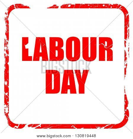 labour day, red rubber stamp with grunge edges