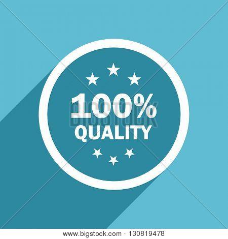 quality icon, flat design blue icon, web and mobile app design illustration