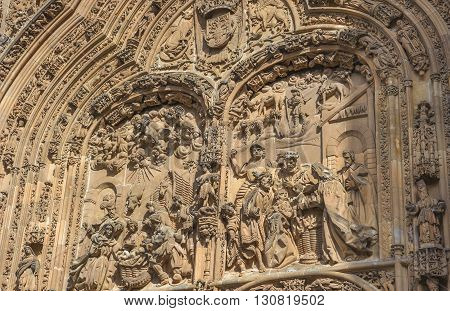 Architectural details of New cathedral in Salamanca Spain