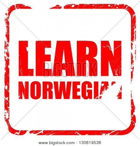 learn norwegian, red rubber stamp with grunge edges