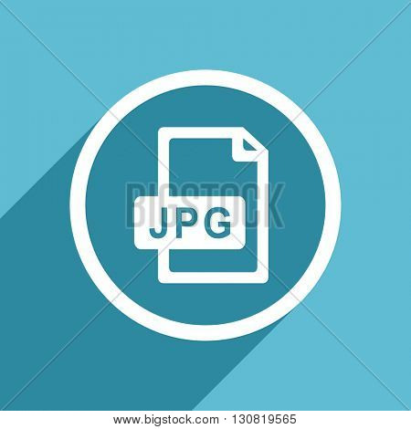 jpg file icon, flat design blue icon, web and mobile app design illustration