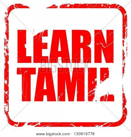 learn tamil, red rubber stamp with grunge edges