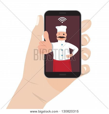 Online food order theme. Mobile application for restaurant and cafe. Hand holding Moble smart phone and chef cook showing ok.