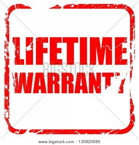 lifetime warranty, red rubber stamp with grunge edges