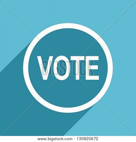 vote icon, flat design blue icon, web and mobile app design illustration