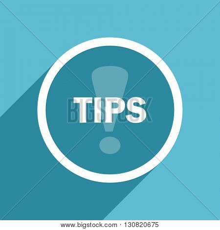 tips icon, flat design blue icon, web and mobile app design illustration