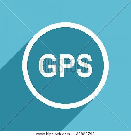 gps icon, flat design blue icon, web and mobile app design illustration