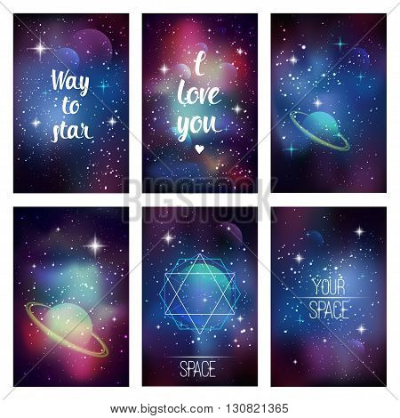 Cosmic greeting card. Flyer design template with sacred geometry, stars and planet. Vector eps 10