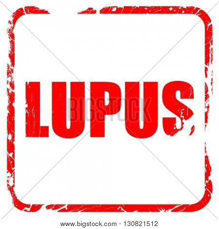 lupus, red rubber stamp with grunge edges