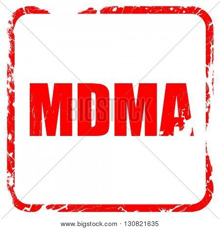 mdma, red rubber stamp with grunge edges