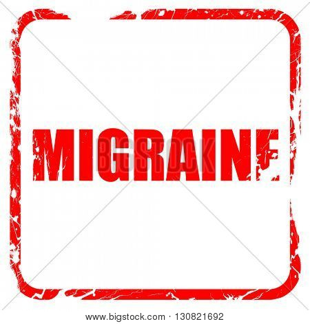 migraine, red rubber stamp with grunge edges
