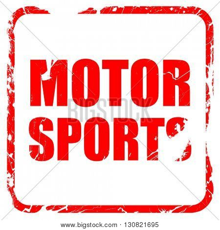 motor sports, red rubber stamp with grunge edges