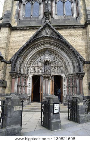 York Yorkshire England UK - May 22 2016 : The historical front entrance of the Roman Catholic church of St Wilfrid in York