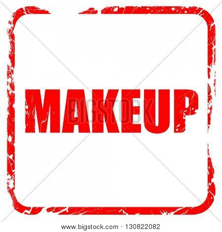 makeup, red rubber stamp with grunge edges