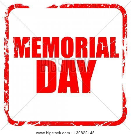 memorial day, red rubber stamp with grunge edges