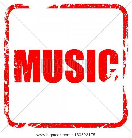 music, red rubber stamp with grunge edges