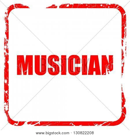 musician, red rubber stamp with grunge edges