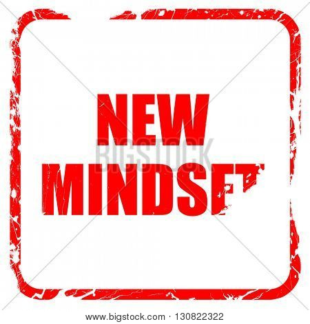 new mindset, red rubber stamp with grunge edges