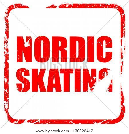nordic skating, red rubber stamp with grunge edges
