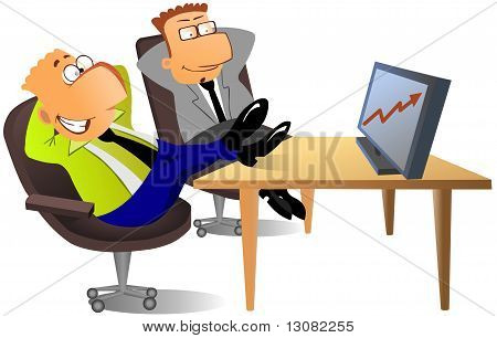 Businessmen looking on the diagram of success
