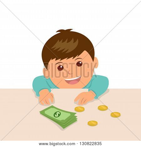 The boy put the money on the table to calculate their savings. The kid at the counter in the shop put the money to buy something.