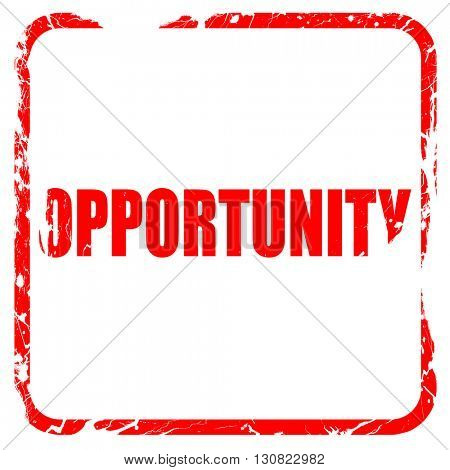 opportunity, red rubber stamp with grunge edges