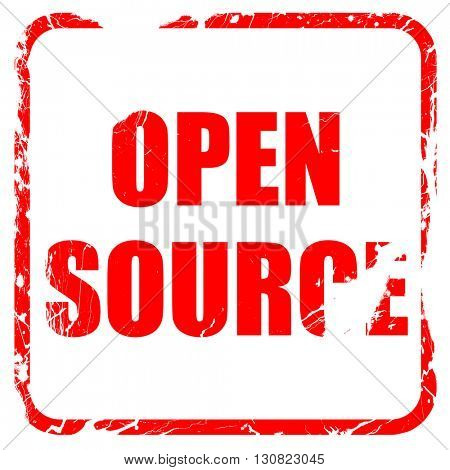open source, red rubber stamp with grunge edges