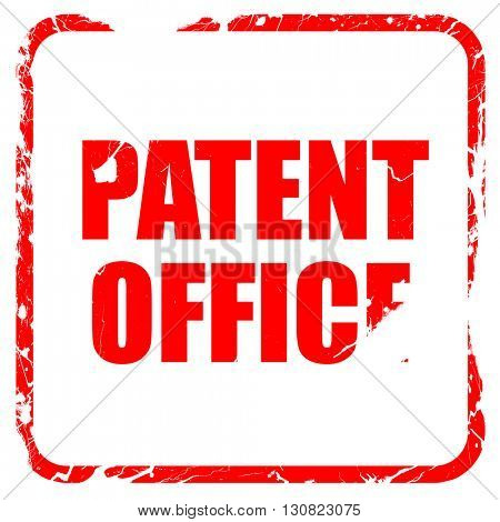 patent office, red rubber stamp with grunge edges