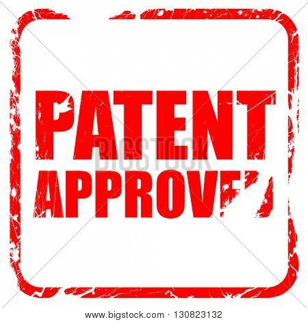 patent approved, red rubber stamp with grunge edges