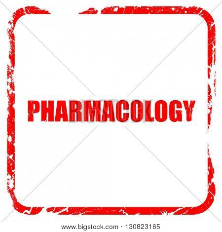 pharmacology, red rubber stamp with grunge edges