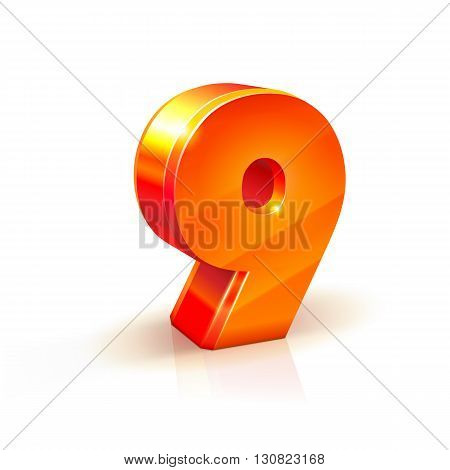 3d orange-red realistic volumetric image number nine. Isolated on a white background