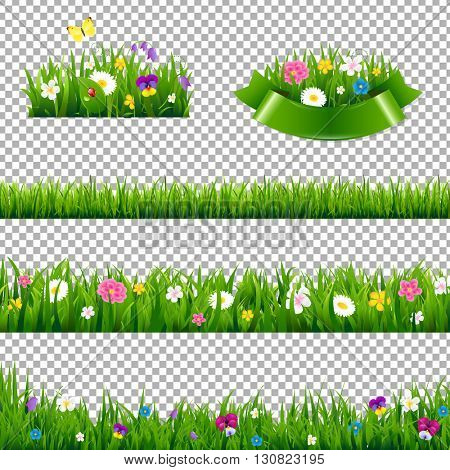 Green Grass Borders Collection With Flowers, Isolated on Transparent Background, With Gradient Mesh, Vector Illustration