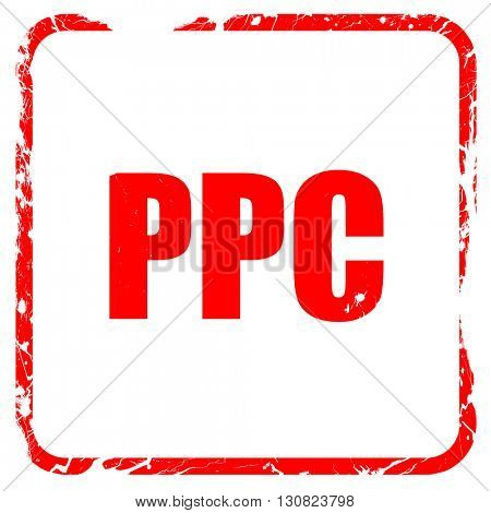 ppc, red rubber stamp with grunge edges
