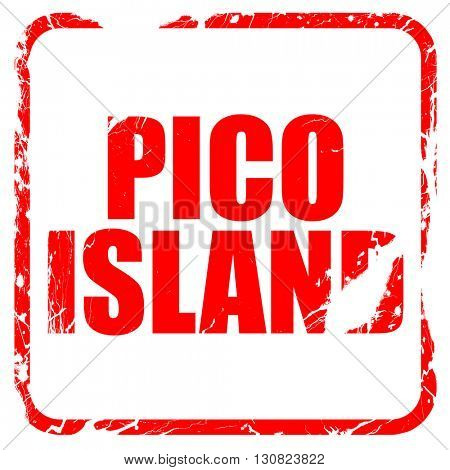 pico island, red rubber stamp with grunge edges