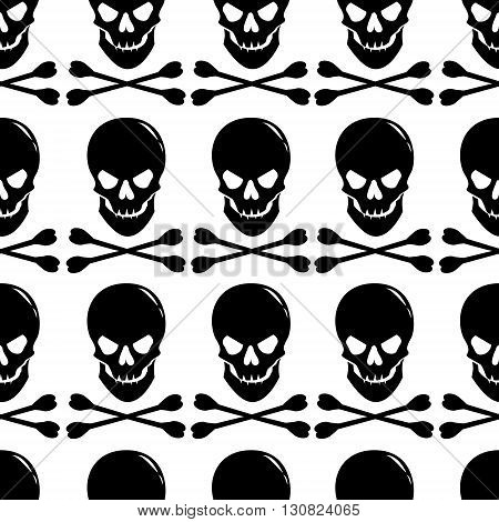 Seamless pattern with skull and crossbones on white background. Vector illustration.
