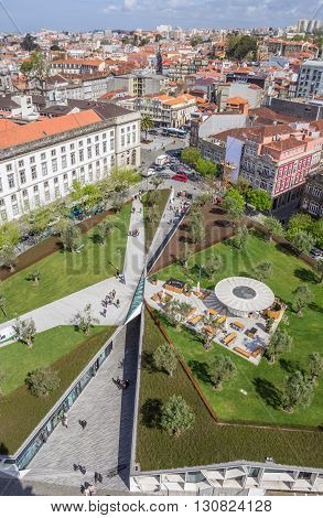 PORTO, PORTUGAL - APRIL 21, 2016: View over a park from the Clerigos tower in Porto, Portugal